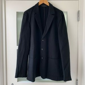 john varvatos Black Raw Wool Jacket Blazer Size L